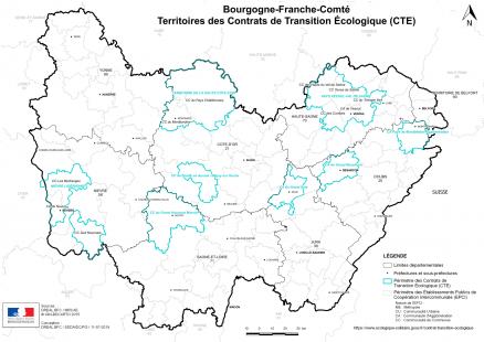 Carte des CTE de Bourgogne-Franche-Comté